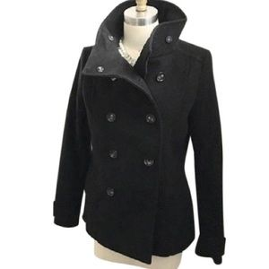 H&M Black Double Breasted Pea Coat Size 8